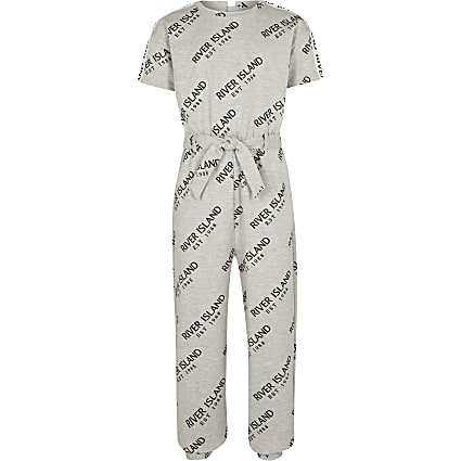Girls grey t-shirt jumpsuit