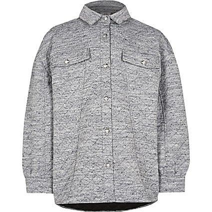 Girls grey textured shacket