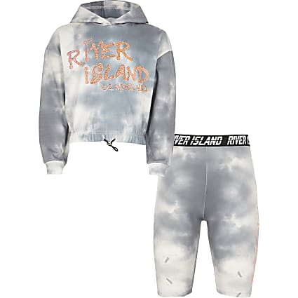 Girls grey tie dye hoodie and shorts outfit