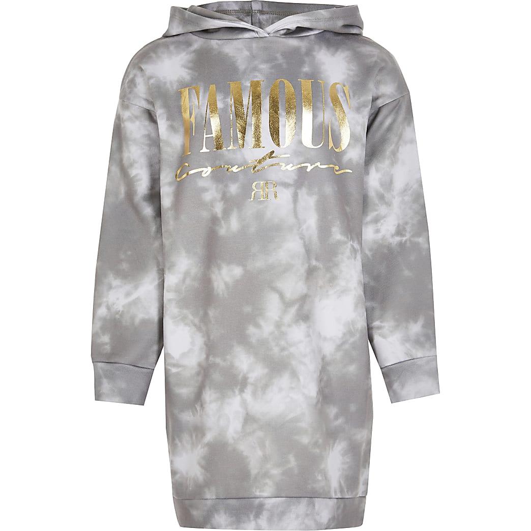 Girls grey tie dye hoodie dress