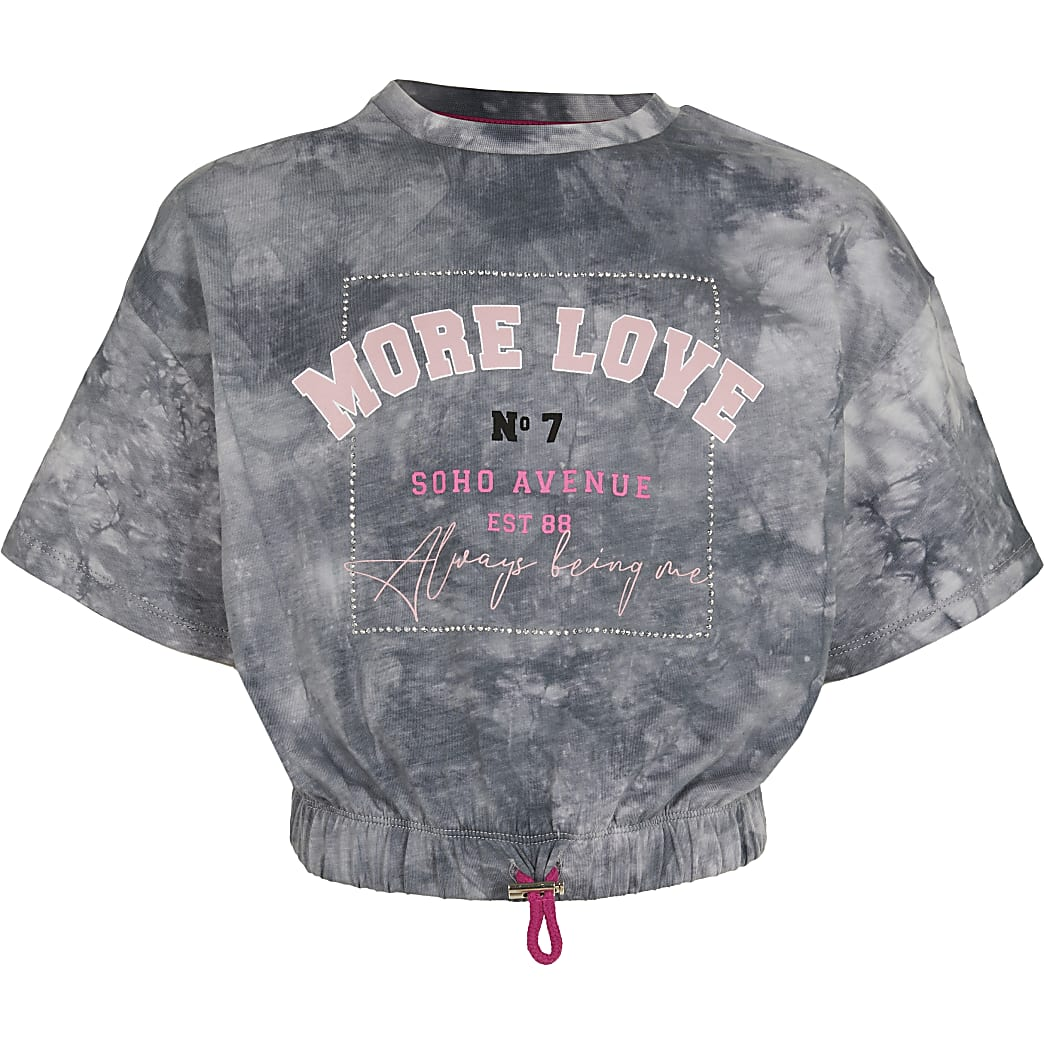 Girls grey tie dye 'More Love' t-shirt