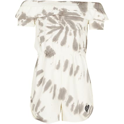 Girls grey tie dye playsuit