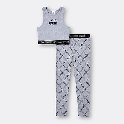 Girls grey 'Totally Fearless' crop top outfit