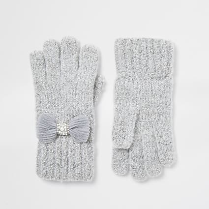 Girls grey tulle bow gloves
