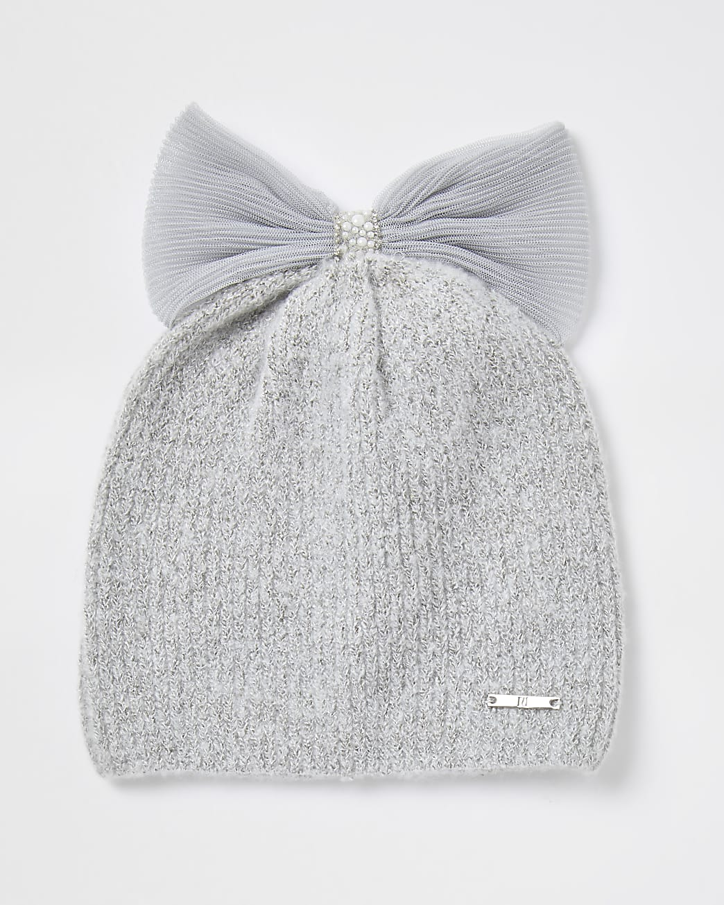 Girls grey tulle bow pearl beanie hat