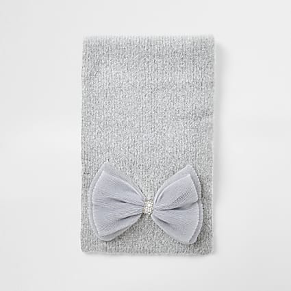 Girls grey tulle bow trim scarf