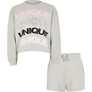 Grijze outfit met sweater met 'Unique'-print voor meisjes