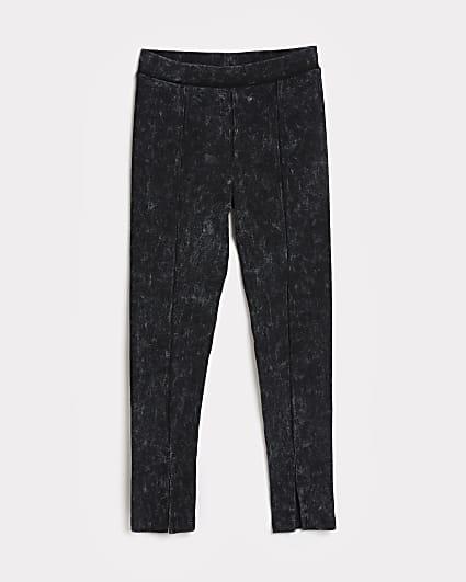 Girls grey washed rib leggings