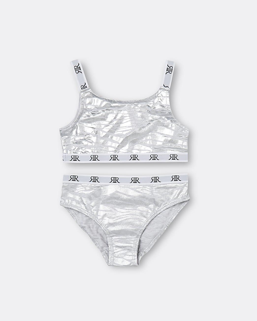 Girls grey zebra print crop top and brief set