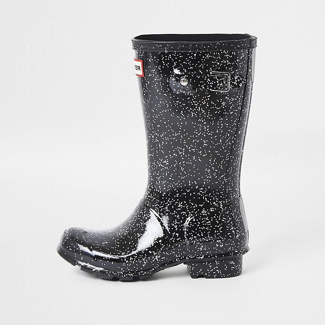 Girls Hunter black glitter wellington boots