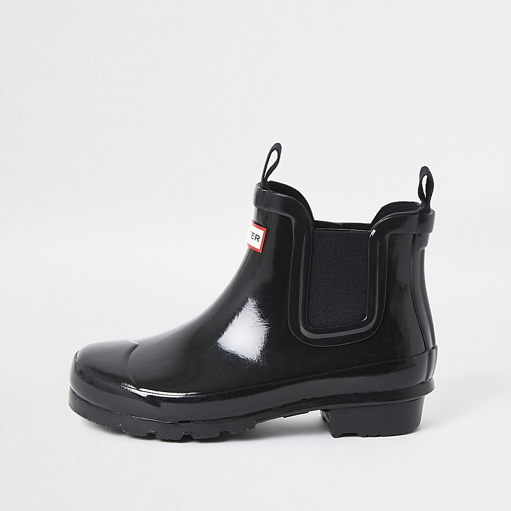 Girls Hunter black gloss wellington boots