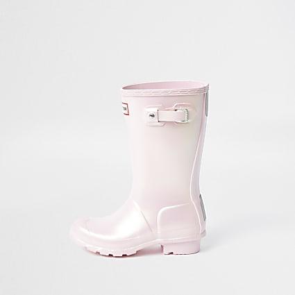 Girls Hunter pink wellington boots