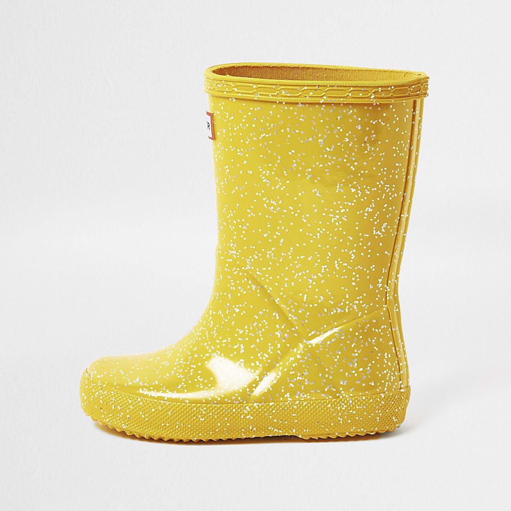 Girls Hunter yellow glitter wellington boots