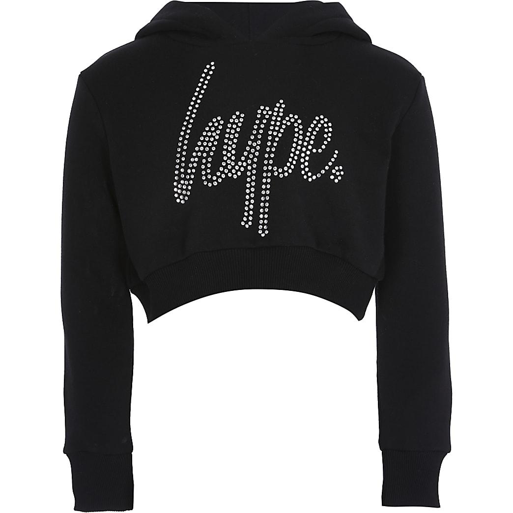 Girls Hype black diamante crop hoodie