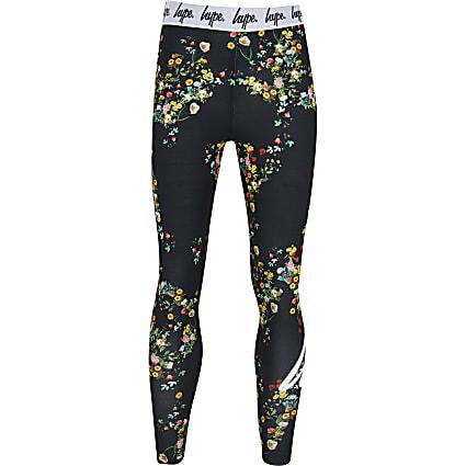 Girls Hype black ditsy floral leggings