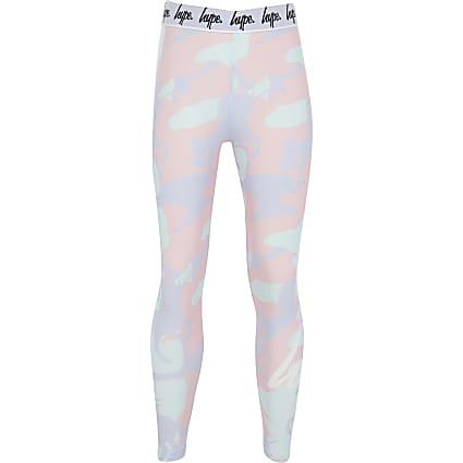 Girls Hype pink camo legging