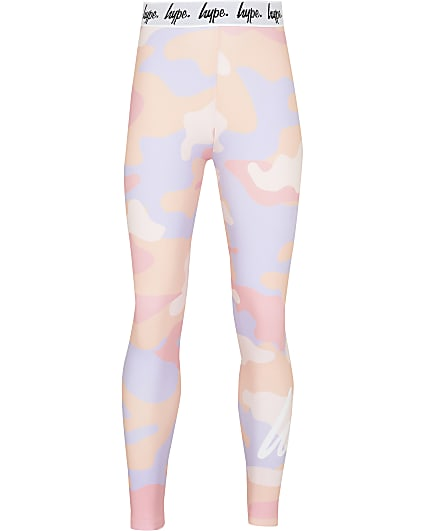 Girls Hype pink camo leggings