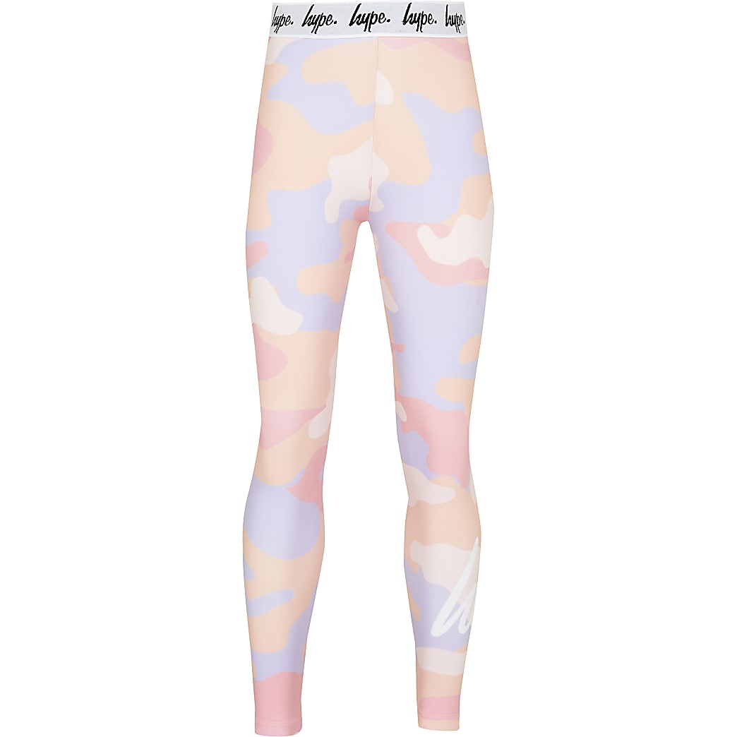 Girls Hype pink camo leggings