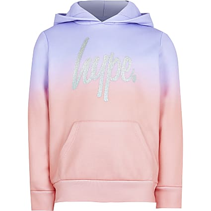Girls Hype purple ombre fade crop hoodie