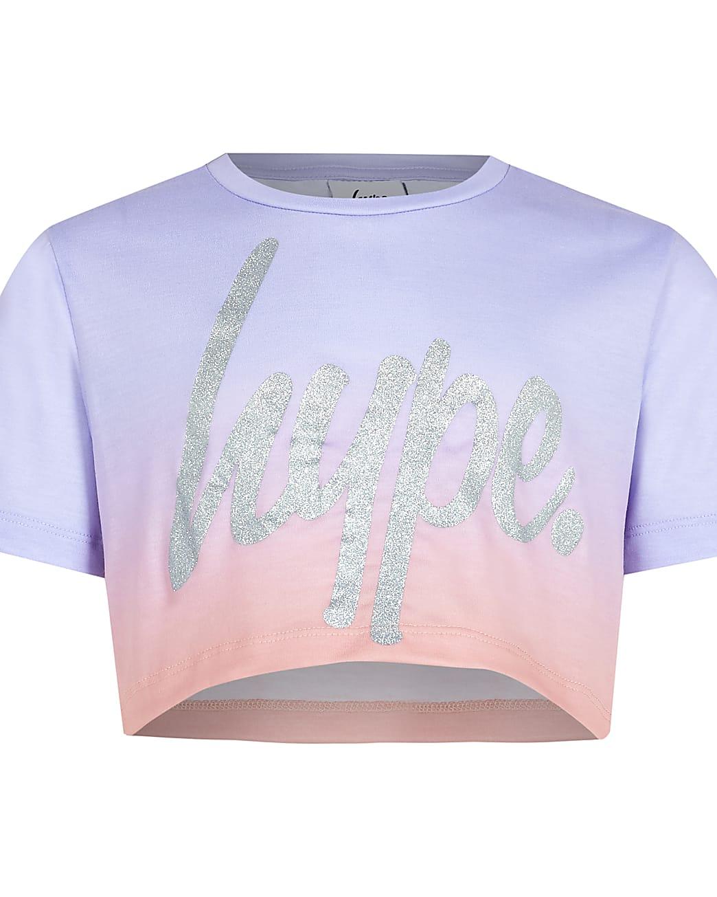 Girls Hype purple ombre fade crop top