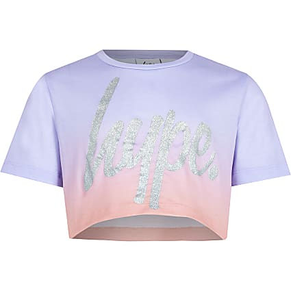 Girls Hype purple ombre fade crop top