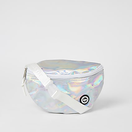 Girls Hype silver iridescent bumbag