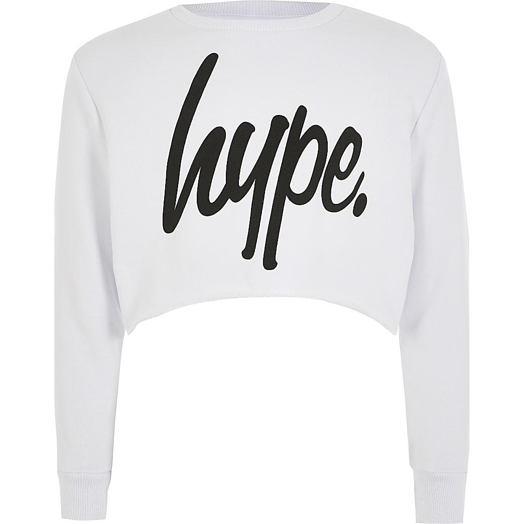 Hype - Witte cropped sweater voor meisjes