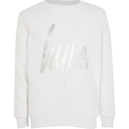 Girls Hype white foil print sweatshirt
