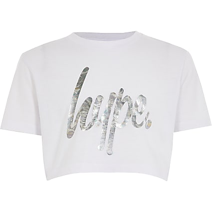Girls Hype white foil printed crop T-shirt