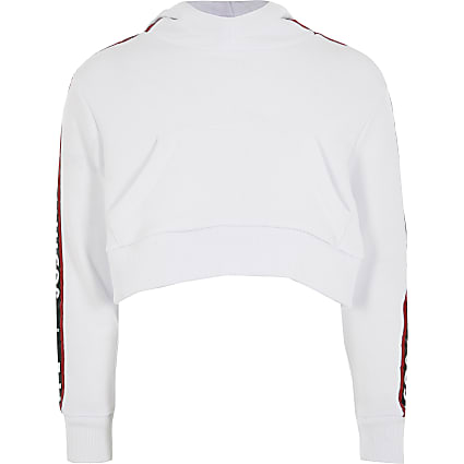 Girls Hype white tape cropped hoodie