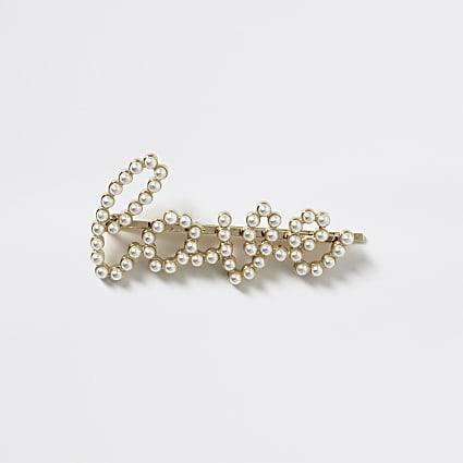Girls ivory faux pearl 'Love' hair clip