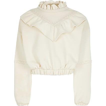 Girls ivory long sleeve ruffle sweatshirt