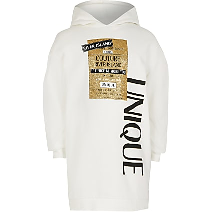 Girls ivory 'Unique' mesh sleeve hoodie dress