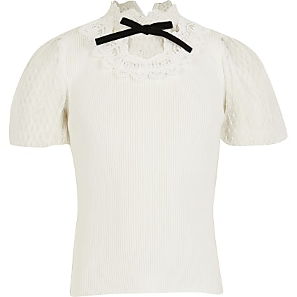 Girls ivory victoriana knitted top