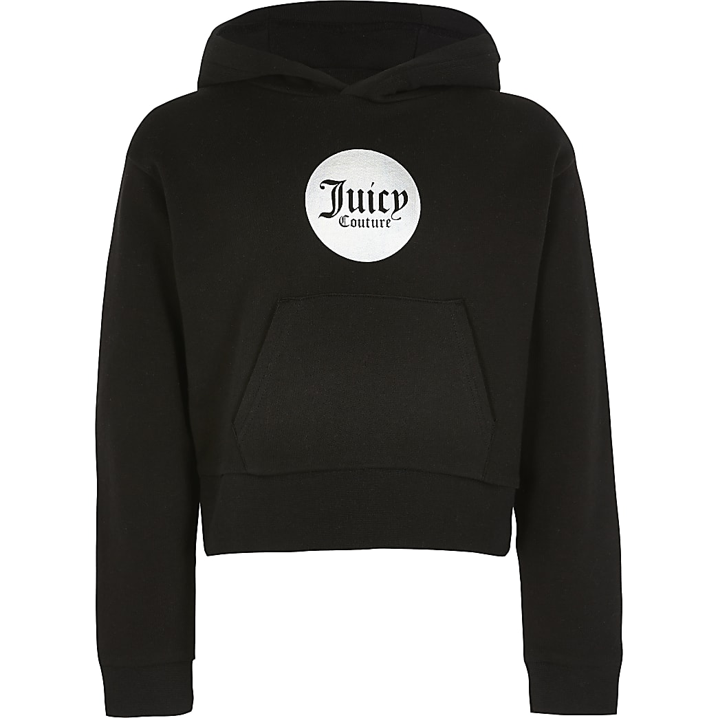Girls Juicy Couture black cropped hoodie
