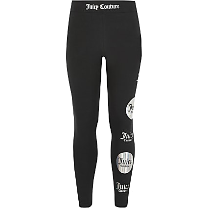 Girls Juicy Couture black printed leggings