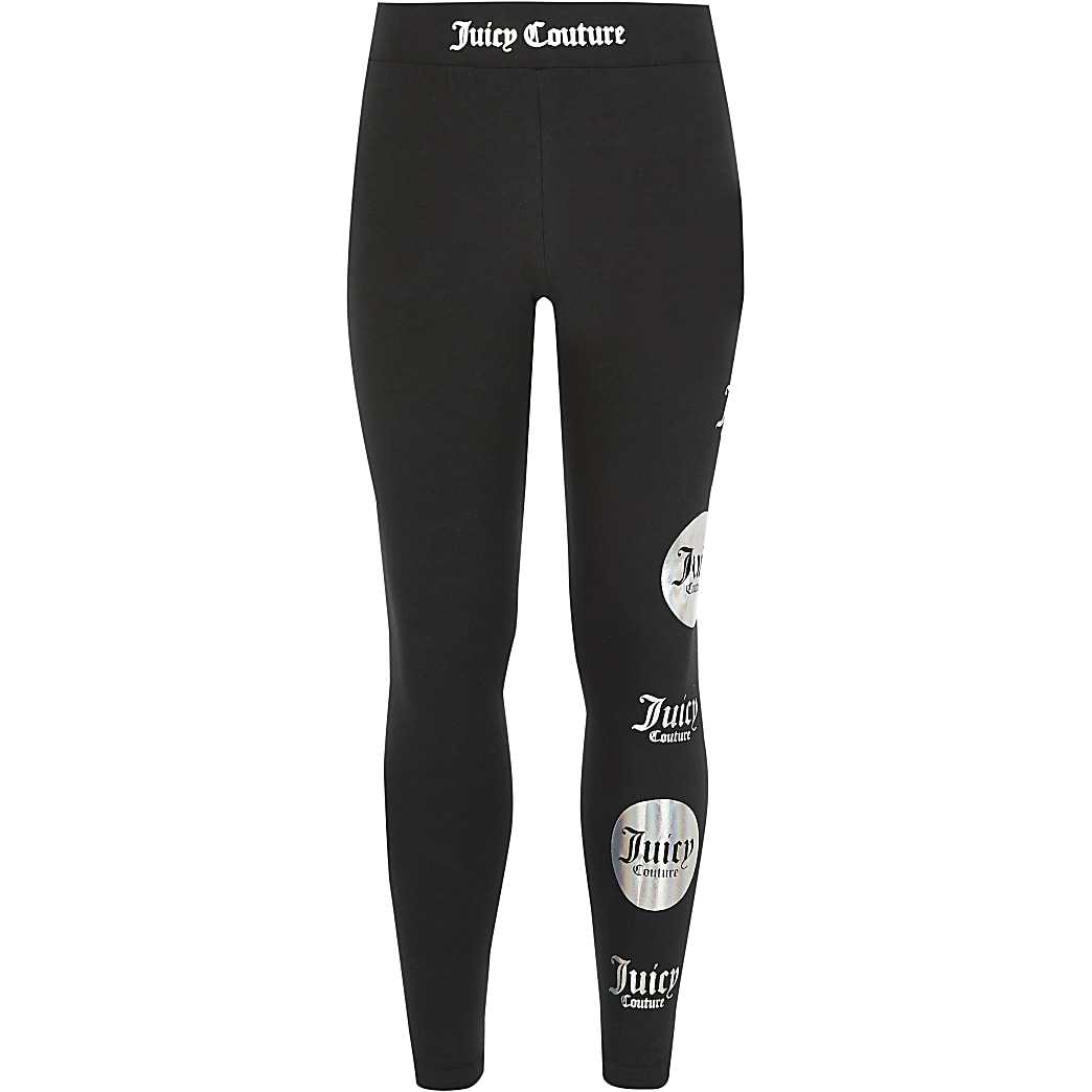 Girls Juicy Couture black printed leggings