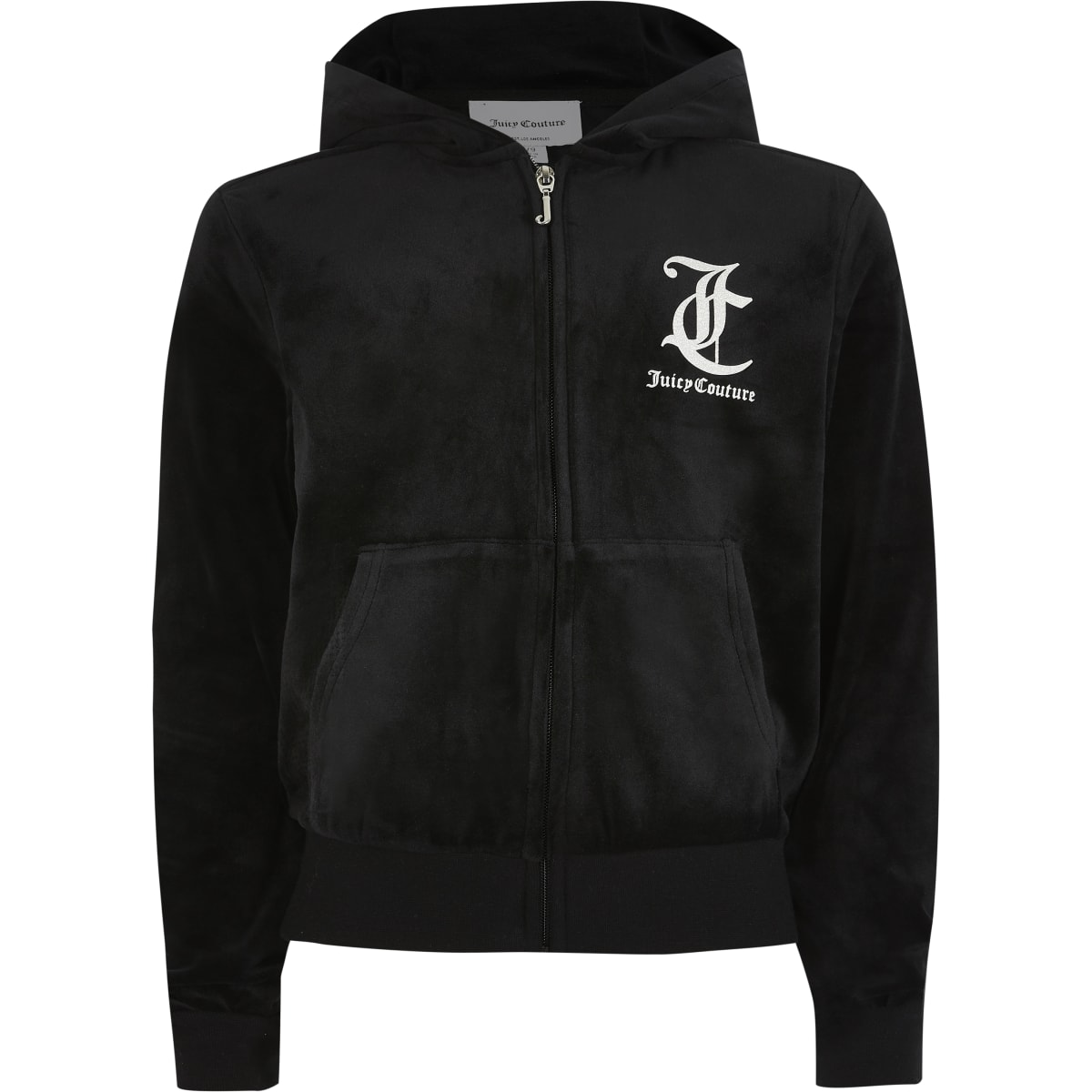 Juicy Couture - Zwarte velours hoodie met rits voor meisjes