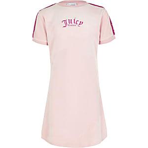 Juicy Couture - Roze verlours T-shirt jurk voor meisjes