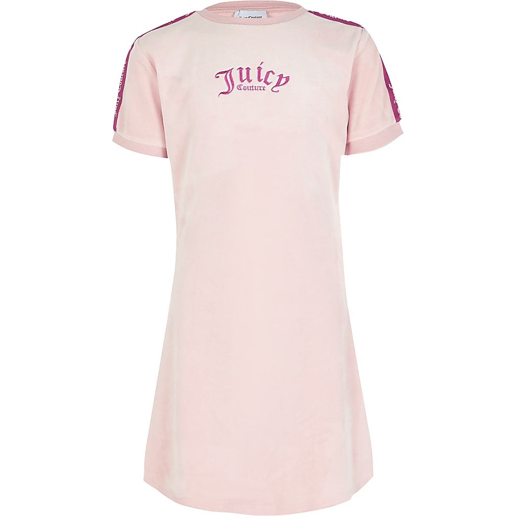 Girls Juicy Couture pink velour T-shirt dress