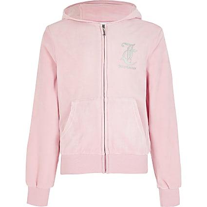 Girls Juicy Couture pink velour zip hoodie