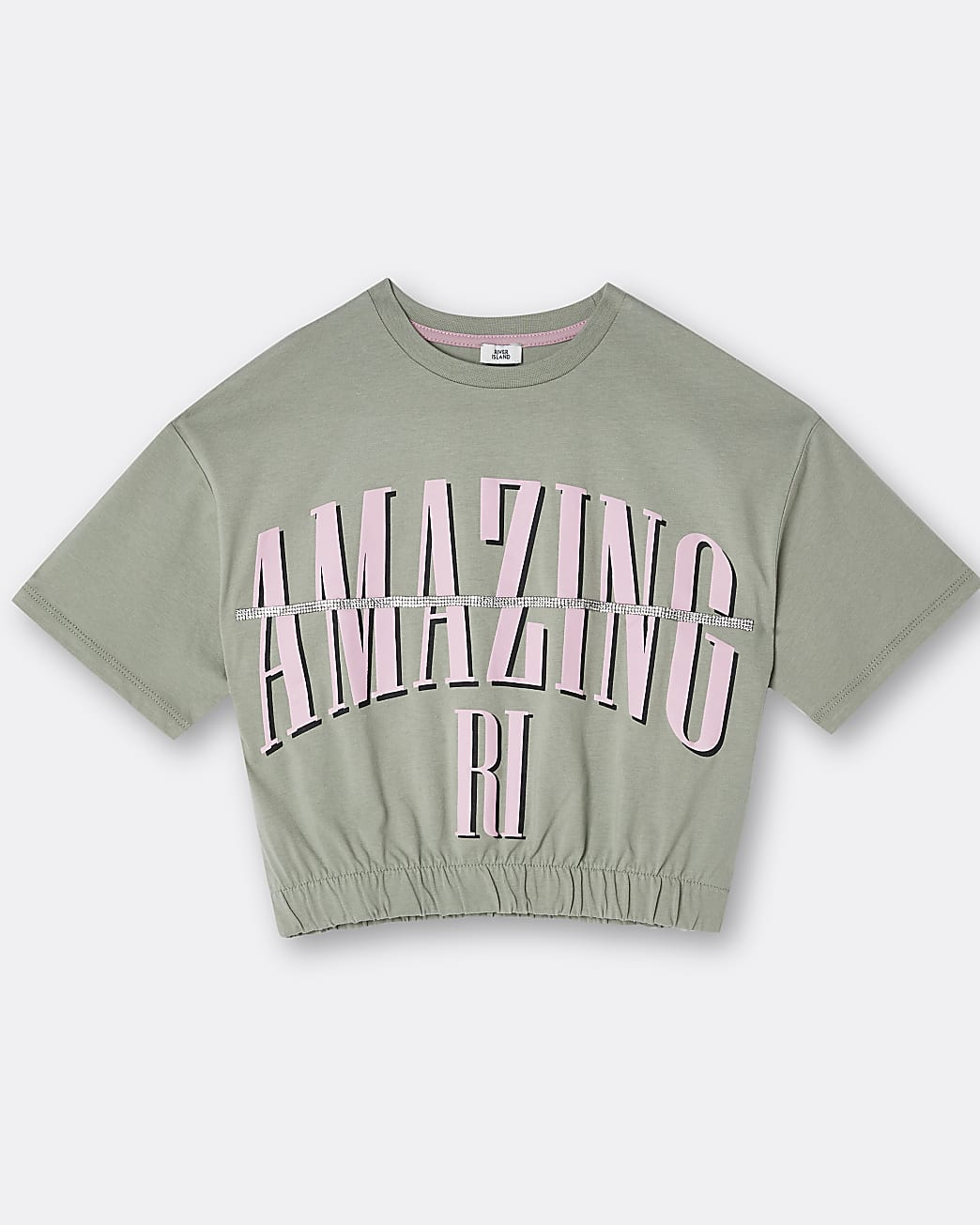 Girls khaki 'Amazing' bling cinched t-shirt