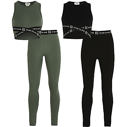 Girls khaki and black crop outfit 2 pack