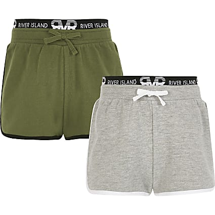 Girls khaki and grey RI runner shorts 2 pack