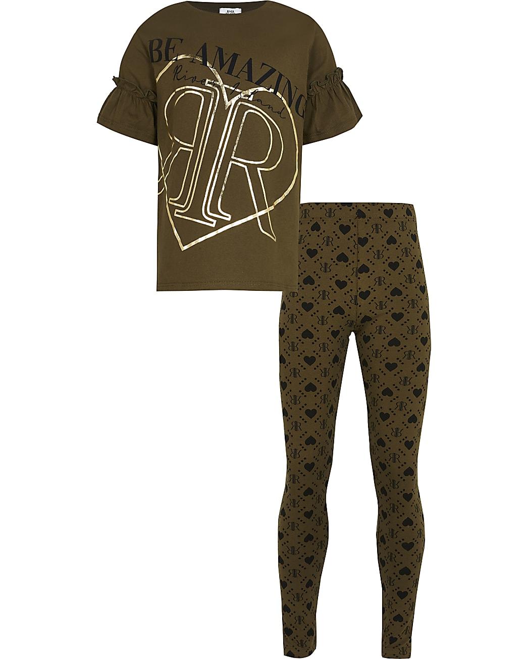 Girls Khaki 'Be Amazing' t-shirt outfit