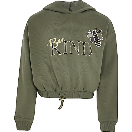 Girls khaki 'bee kind' hooded sweatshirt