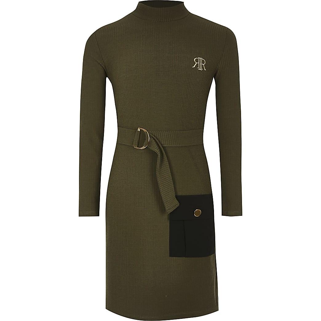Girls khaki belted long sleeve utility dress