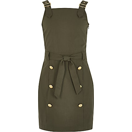 Girls khaki button front pinafore dress