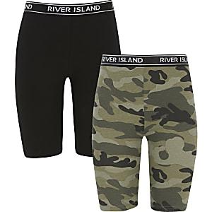 Radfahr-Shorts in Camouflage in Khaki für Mädchen, 2er-Set