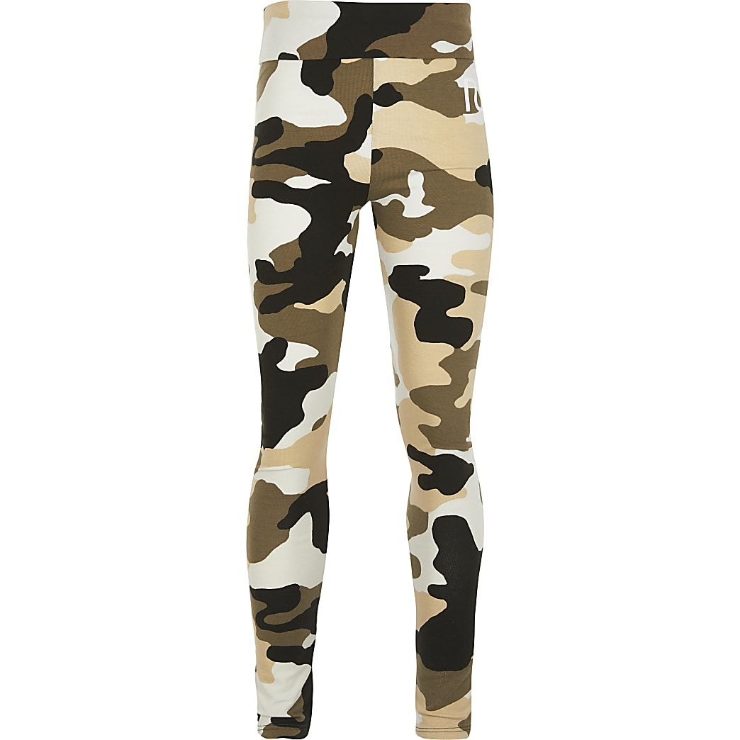 Girls khaki camo fold over legging